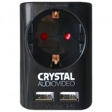 CRYSTAL AUDIO SU-1 (ΜΟΝΟΠΡΙΖΟ + 2x USB) Πολύμπριζο Black