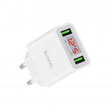 Hoco C25A Φορτιστής Ταξιδίου Cool Dual USB 5V/2.2A Λευκός