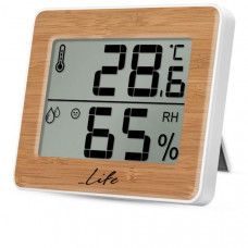 LIFE WES-107 Gem Bamboo Edition Ψηφιακό Θερμόμετρο/ Υγρόμετρο White