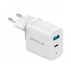ANCUS Supreme Series Dual USB - USB-C 30W Φορτιστής Ταξιδίου White