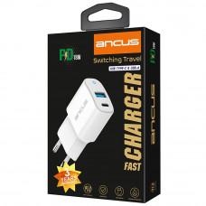 ANCUS Supreme Series 18W Dual USB/USB-C Φορτιστής Ταξιδίου White